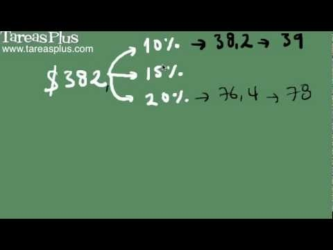 como calcular la propina para el caso en que esta sea de 10%, 15% o 20% mediante aproximación o cálculo exacto
