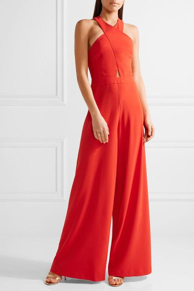 Red stretch-crepe Concealed hook and zip fastening at back 100% polyester; lining: 94% polyester, 6% elastane Dry clean Designer color: Poppy Imported