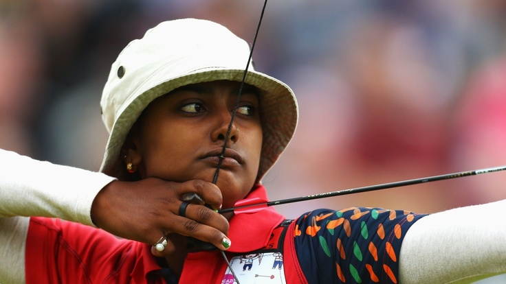 Deepika Kumari of India competes in her women's Individual Archery 1/32 eliminations match against Amy Oliver of Great Britain during the women's Individual Archery on Day 5 of the London 2012 Olympic Games at Lord's Cricket Ground.