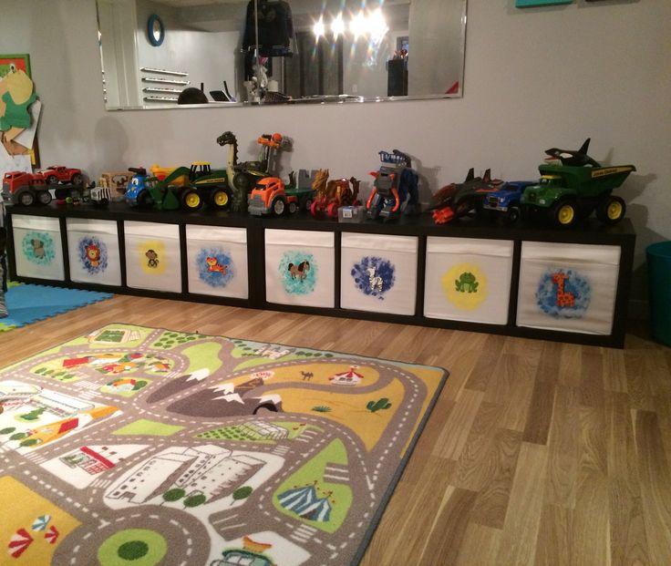 Great storage bins from ikea , love my new basement all organized