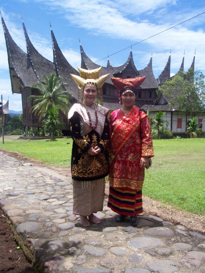 Minangkabau women in their traditional costumes,  West Sumatra,  Indonesia.