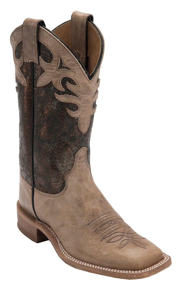 Justin Bent Rail Women's Antique Beige with Cobre Metallic Top Double Welt Square Toe Western Boots