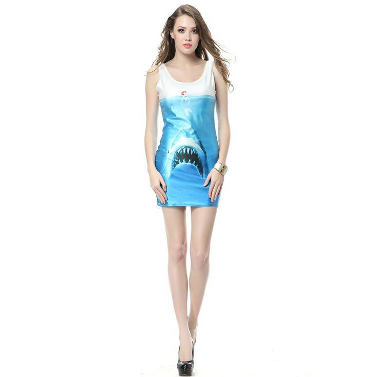 Pas cher 2015 mode Sexy femmes fille ciel bleu Shark les mâchoires court Slim Shinny vest réservoir de jupe robes bandage robes livraison gratuite, Acheter  Fonds de robe de qualité directement des fournisseurs de Chine:                  Taille Instructions             S'il vous plaît Vérifier article mesure soigneus
