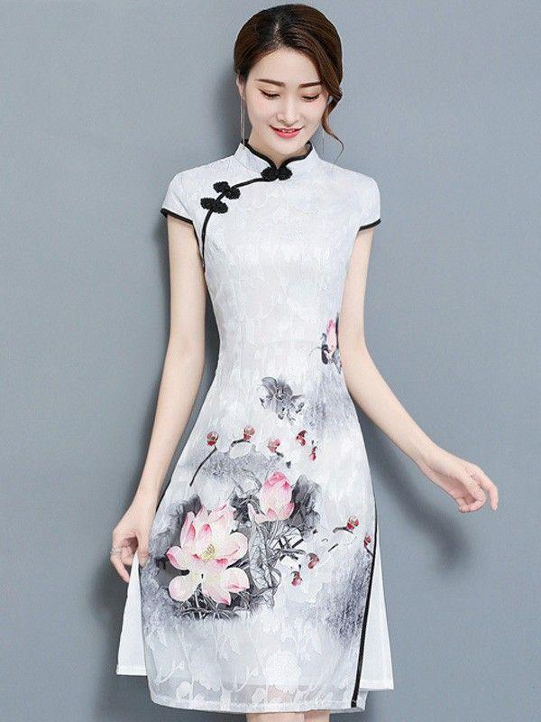 862a5232af4 Casual Qipao / Cheongsam Dress in Lotus Print | Qipao & Cheongsam in ...
