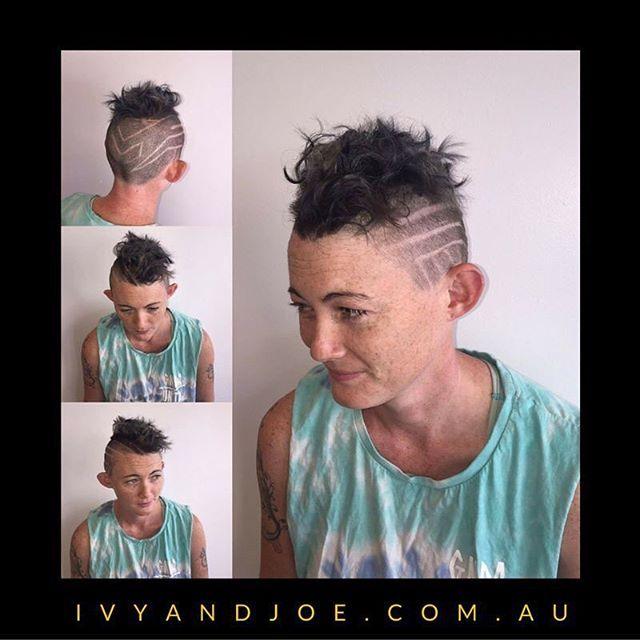 Super fly 👌#hairtattoo #curls #hairdesign #short #shaved #girl #coolhair #perm #pixie #cut #hair