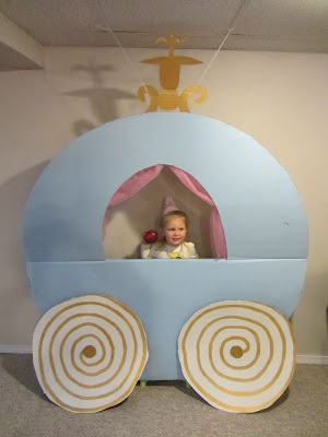 Cinderella's Carriage for Princess Party... kate  i had fun making this! we love cardboard crafts haha