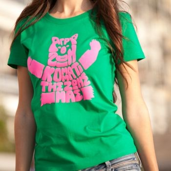 """Green female t shirt with fuchsia logo """" Wildlife, part of our lives"""""""