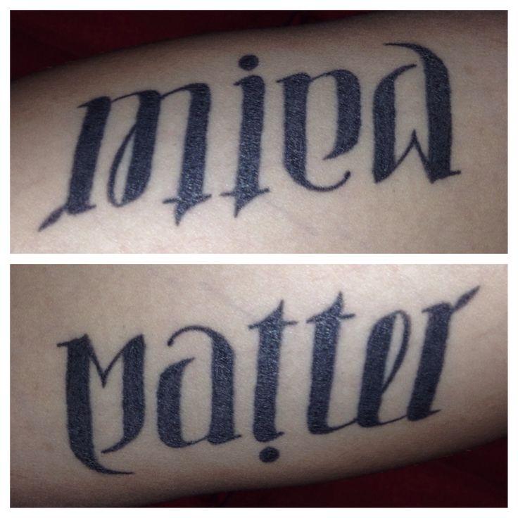 My Ambigram arm tattoo. Mind over Matter