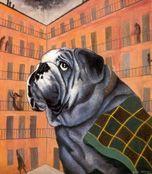 Dino Buzzati, Il cortile con grande bulldog, 1970.