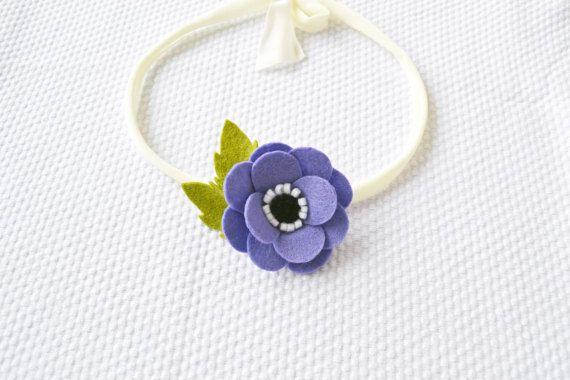 Lilac Anemone Felt Flower Headband / Single Bloom by CraftyCatgr