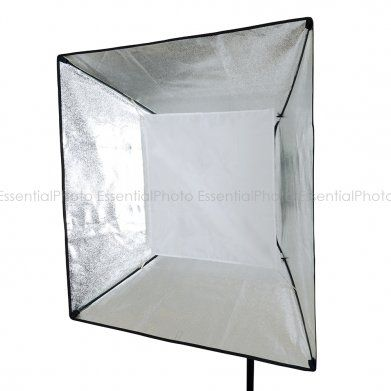 EssentialPhoto 90x90cm Non-recessed Square Softbox (El fitting) The softbox is an enclosure around a bulb comprising reflective side and back walls and a diffusing material at the front of the light. A soft box can be used with either flash or continuous light.