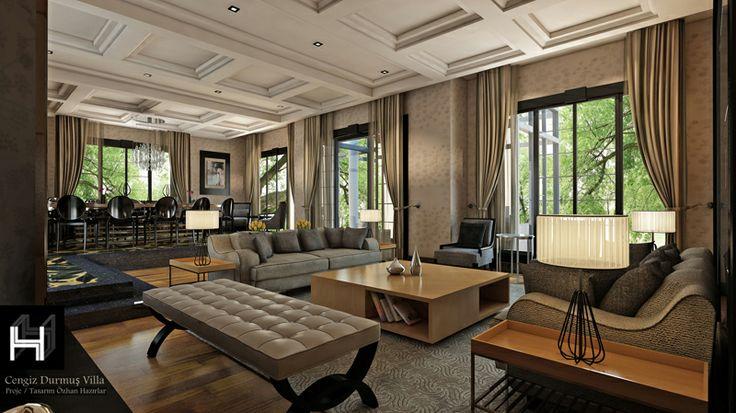 Villa living room   Villa yaşama mekanı Konsept Projesi Proje - villa wohnzimmer modern