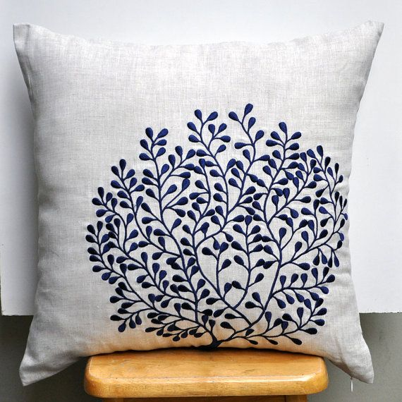 Coral Fan Throw Pillow Cover, Decorative Pillow Cover 18 x 18, Linen Pillow with Navy Blue Coral, Nautical Pillow Case, Blue Coral Cushion