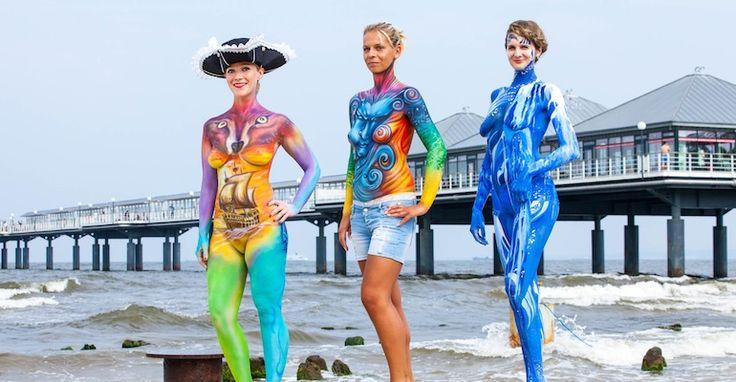 Bodypaintings beim 3. Heringsdorfer Bodypainting Festival 2015 an der Seebrücke