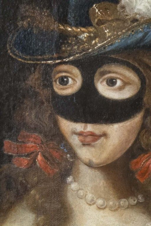 "18th century hats america | Masquerade"" Oil on Canvas, French School 18th Century at 1stdibs"