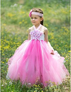 Ball Gown Halter Floor-length Tulle And Silk Tutu Dress/Flower Girl Dress With Appliques
