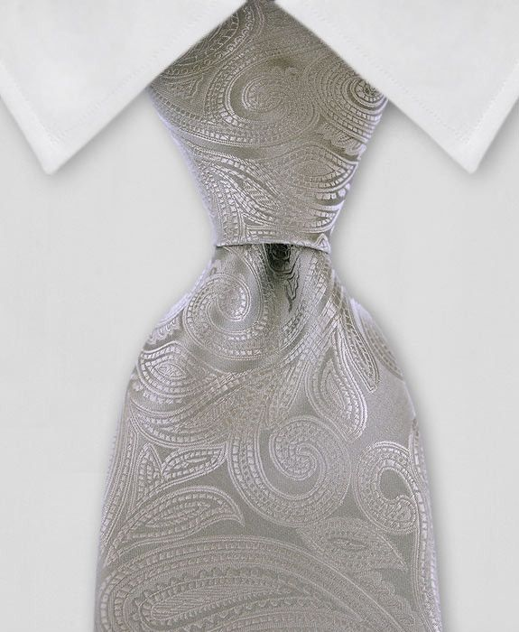 "Product number: PA-5124 Length: REG - 59"" Width: 3.5"" Material: 100% Microfiber Care: Dry Clean / Spot Clean Label: GENTLEMAN JOE This elegant, silver, paisley necktie is a piece of art. You'll look l"