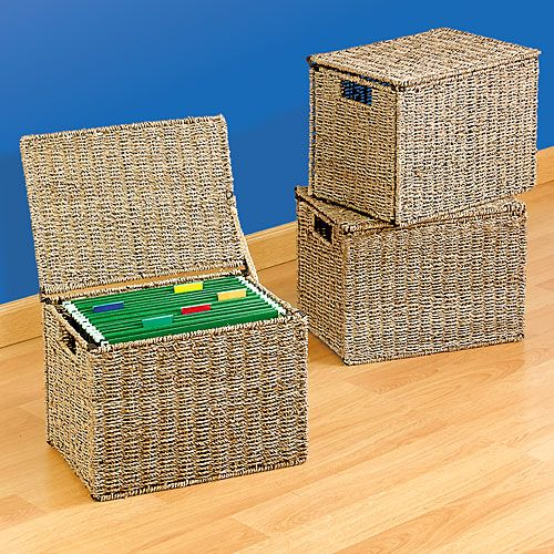 Woven Nesting Storage Trunks Brown Set of 3 Home Organizer Container Boxes