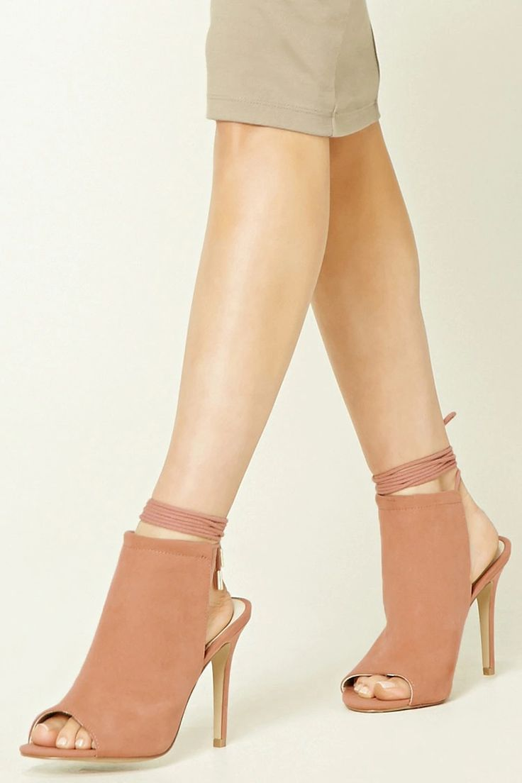Lace-Up Faux Suede Heels