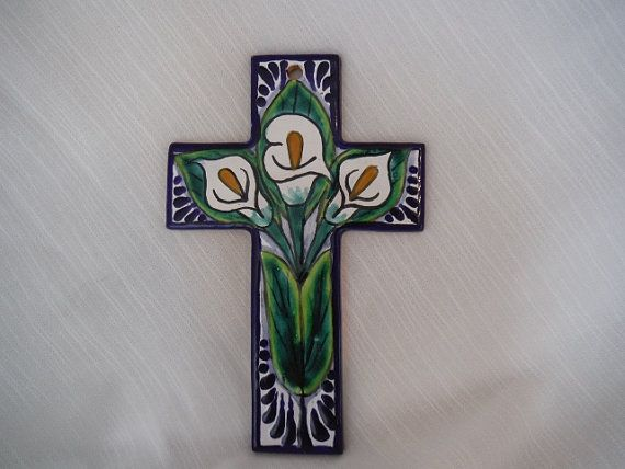 Vintage Tile Cross Made In Mexico Blue With Hand by MonkeyBiznes, $17.00