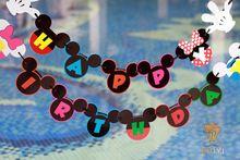 Микки маус с днем рождения бумаги ручной работы флаги бантинг баннер для детей микки день рождения ну вечеринку украшения поставки(China (Mainland))
