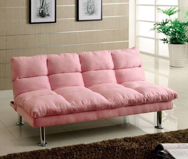 Furniture Of America Saratoga Pink Futon Sofa In 2020 Futon Sofa Comfortable Futon Futon Living Room
