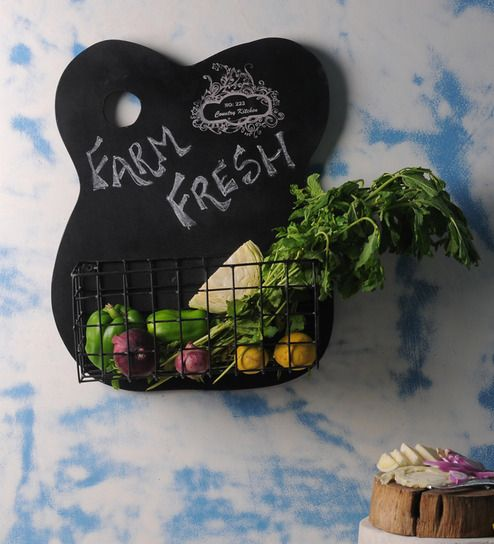 Fabuliv Wood & Metal Chalk Board Kitchen Shelf