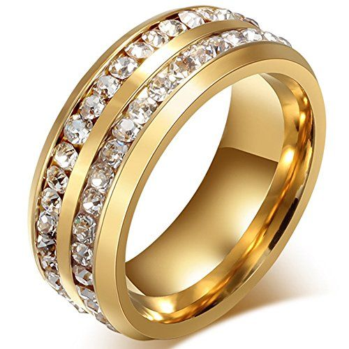 Mens Womens Titanium Stainless Steel High Polished Gold Plated Channel Set Cubic Zirconia CZ Promise Engagement Band Unisex Wedding Ring Comfort Fit
