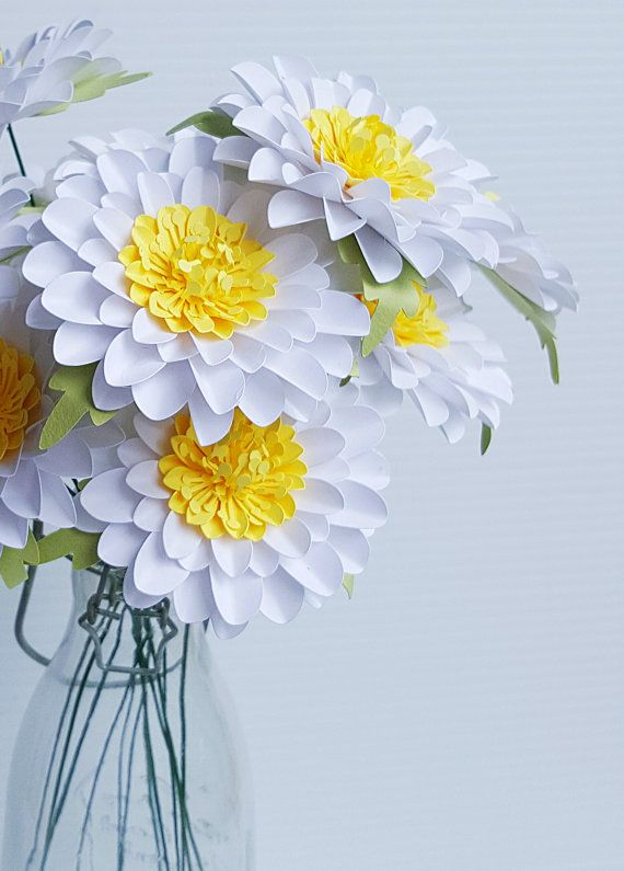 Paper Flowers - Birthdays - Weddings - Special Events -  Daisies - Stemmed - Set of 12 - Made To Order