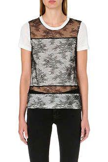 SANDRO Floral lace linen t-shirt