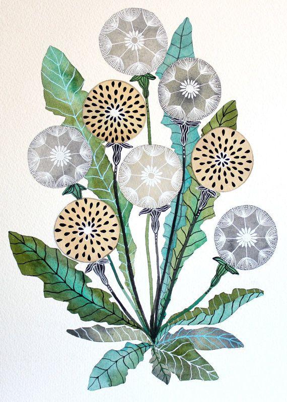Dandelion Watercolor Painting - Nature Art - Archival Print 8x10 by Marisa Redondo