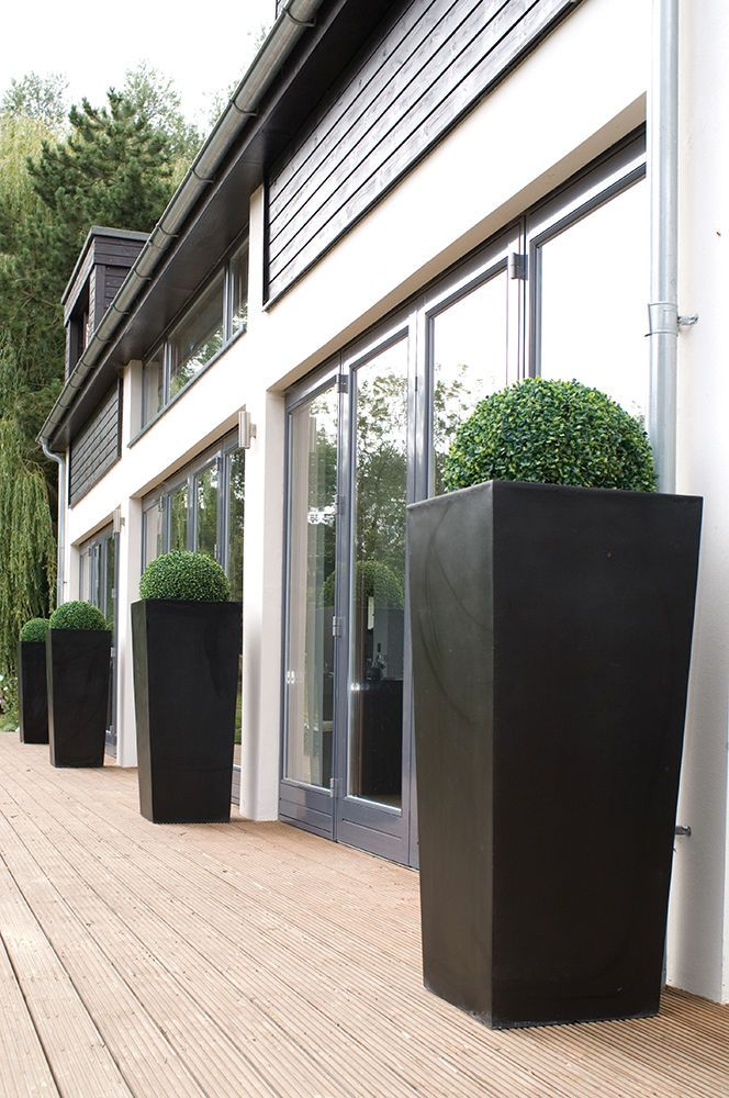 2x 120cm Tall Black Tapered Planters W/ Artificial Topiary Ball Garden SALE