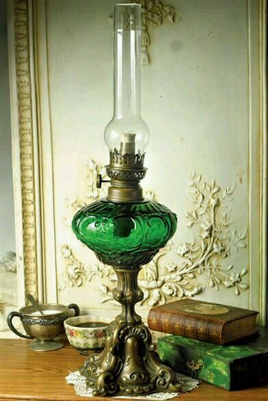 Victorian Oil Lamp - Green Glass Font..