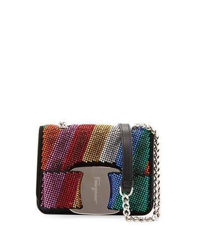 e79486e3359f1 Salvatore Ferragamo Vara Rainbow Crystal Shoulder Bag   Shop the ...