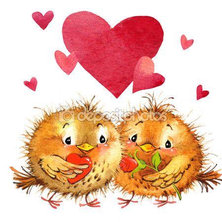 День святого Валентина. птица и сердце. акварельная иллюстрация — стоковое изображение #61852007
