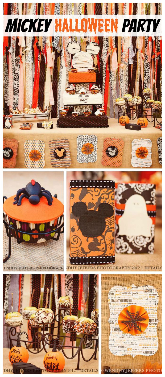 A Not So Scary Mickey Mouse themed Halloween party with a shabby chic look! See more party planning ideas at CatchMyParty.com!