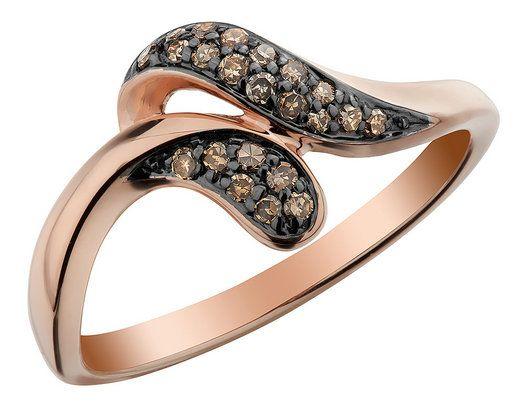 Champagne Diamond Ring 1/6 Carat (ctw) in 10K Rose Pink Gold