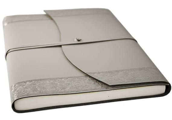 Angelus Handmade Italian Recycled Leather Wrap Journal A4 Silver