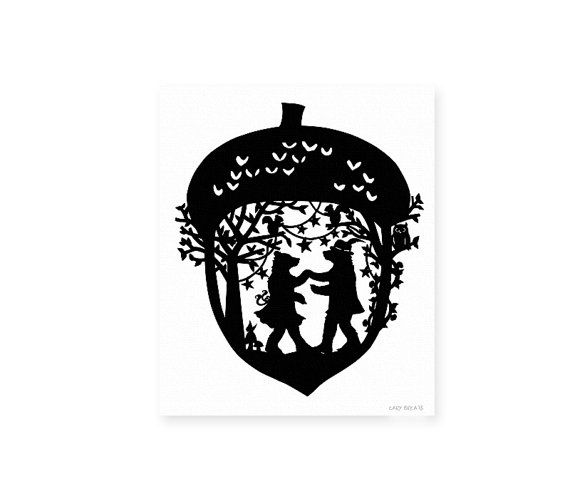 Boogie Woogie Bears - Love The Nightlife - Paper Cut - Silhouette Art - Bear Owl Squirrel Acorn - Dancing Under the Stars