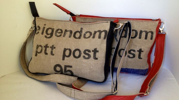 Old and used postbags with leather
