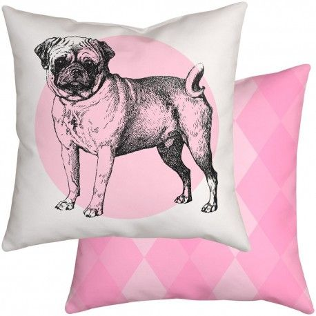 Pink Pug Dog Scatter Cushion and Large Floor Cushion sizes in a range of fabric choices. Cute nursery cushions at choosy.