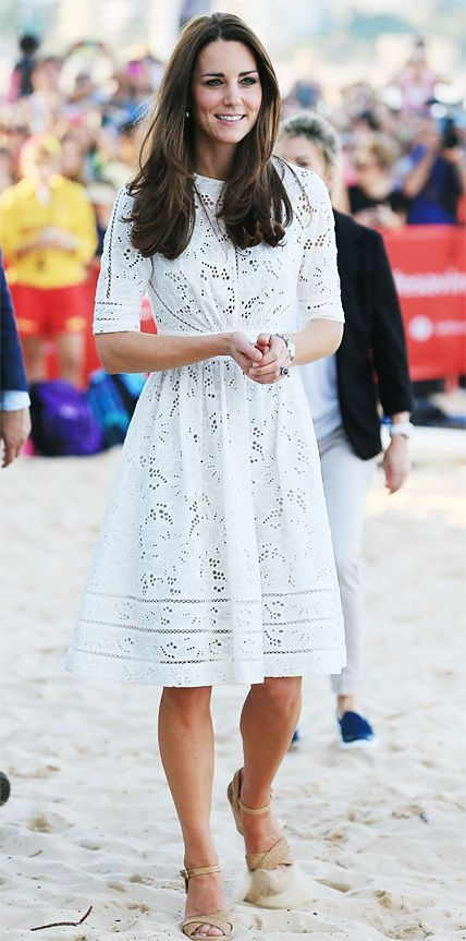 kate wearing a white eyelet zimmermann dress
