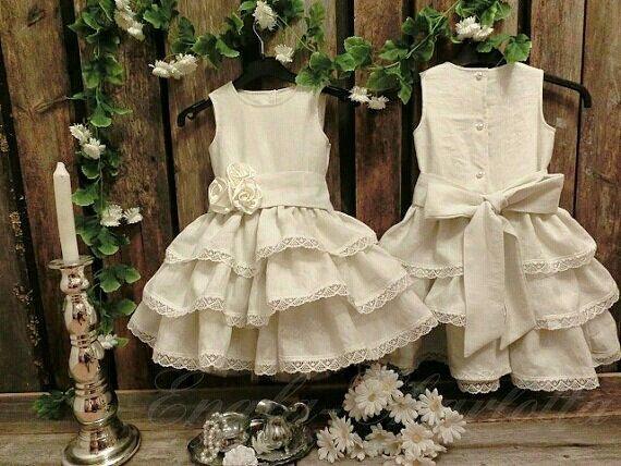 Vestito dalla ragazza di fiore avorio.Lino di englaCharlottaShop