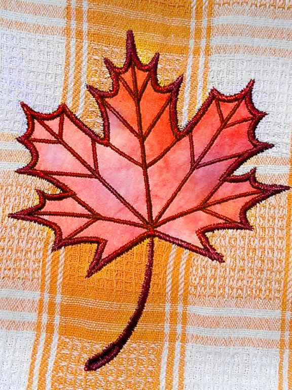 (10) Name: 'Embroidery : Maple Leaf Applique Embroidery