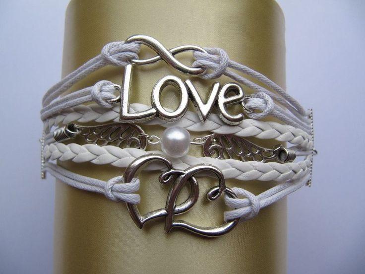 Double Heart Charm Bracelet with Love Charms. White Charm Friendship Bracelet.