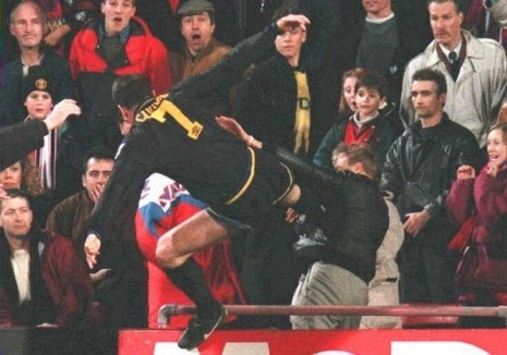 England 1995 – After being red carded Eric Cantona launched a 'kung-fu' style kick into the crowd, directed at a Crystal Palace fan who had shouted abuse at him. The fan got a week in the jail and Cantona got community service.
