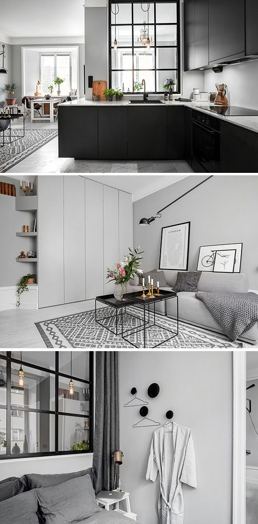 minimalist Scandinavian design . This layout is awesome. Love the window from bedroom to kitchen