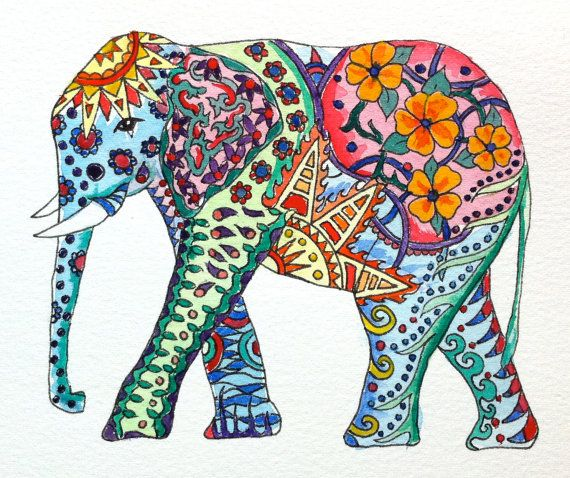 Original Watercolor Elephant with Colorful Tattoo Patterns. $12.99, via Etsy.