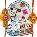 Silver Plated Thali (Size: 5-6 inch) with 2 Free Rakhi , 250 Grms (Gross Weight) Kaju Katli and 250 Grms (Gross Weight) Dry Fruits, Roli Tilak and Chawal