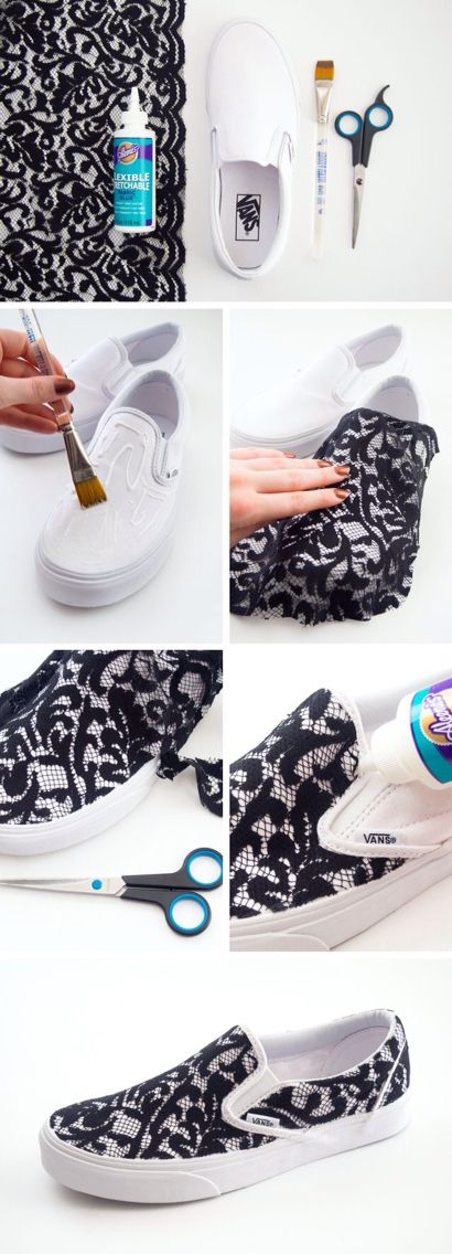 Great way to decorate your white vans with black lace!^.^